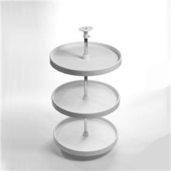"Lazy Susan Set 3 Shelf Full Rd White 18"" Diameter - White"