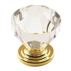 A 14303CBB Traditional Classics 1-1/4 in (32 mm) Dia Cabinet Knob - Clear/Burnished Brass