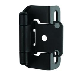 Amerock Self-Closing, Partial Wrap Hinge with 1/2 in. (13mm) Overlay - Flat Black