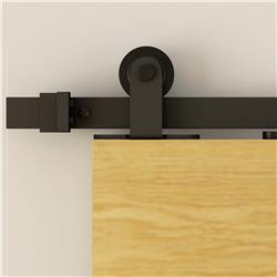 Barn Door Hardware, Flat Track, Top Mount, Hardware Kit Matte Black