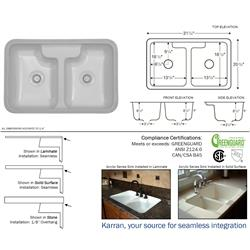 Karran Hampton Bisque Double Equal Bowl Acrylic Sink with Deck