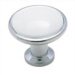 A 14351WCH Allison Value 1-3/16 in (30 mm) Dia Cabinet Knob - White/Polished Chrome