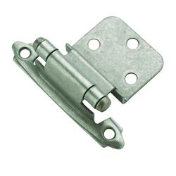 Amerock Self-Closing, Face Mount Hinge with 3/8 in. (10mm) Inset - Weathered Nickel