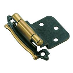 Amerock Self-Closing, Face Mount Hinge with 3/8 in. (10mm) Inset - Antique Brass