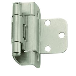Amerock Self-Closing, Partial Wrap Hinge with 3/8 in. (10mm) Inset - Satin Nickel