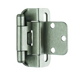 Amerock Self-Closing, Partial Wrap Hinge with 3/8 in. (10mm) Inset - Weathered Nickel