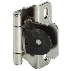Amerock Single Demountable, Partial Wrap Hingw with 1/4 in. (6mm) Overlay - Nickel