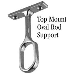Closet Rod Support Oval Top Mount Chrome
