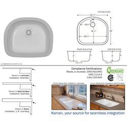 Karran Benton Bisque D-Shaped Single Bowl Sink