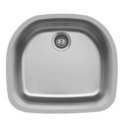 Karran E-330 D-Shaped Single Bowl Sink Stainless Steel
