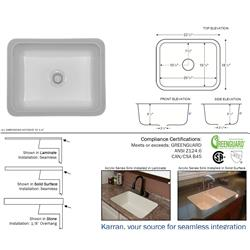 Karran Madrid Bisque Single Bowl Acrylic Sink
