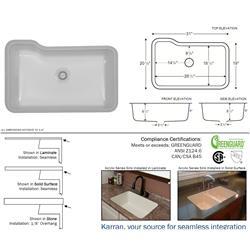 Karran Monaco Bisque Extra Large Single Bowl Acrylic Sink