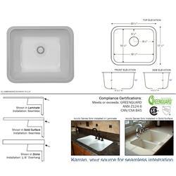 Karran Monterey Bisque Single Bowl Acrylic Sink