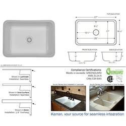 Karran Nova Bisque Single Bowl Acrylic Sink