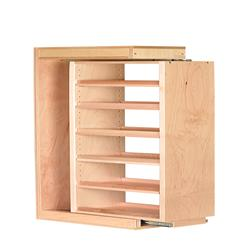 """6"""" Maple Wall Filler with 5 Adjustable Shelves & Slides 6 x 42 x 11"""