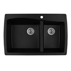 Karran QT-721 Quartz Black Large/Small Bowl Sink- Available in many standard sink colors.