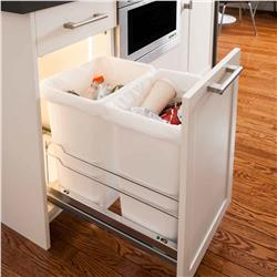 Kessebohmer Double Waste Bin Pullout / Bottom Mounted / 2 Bin Color and Size Options