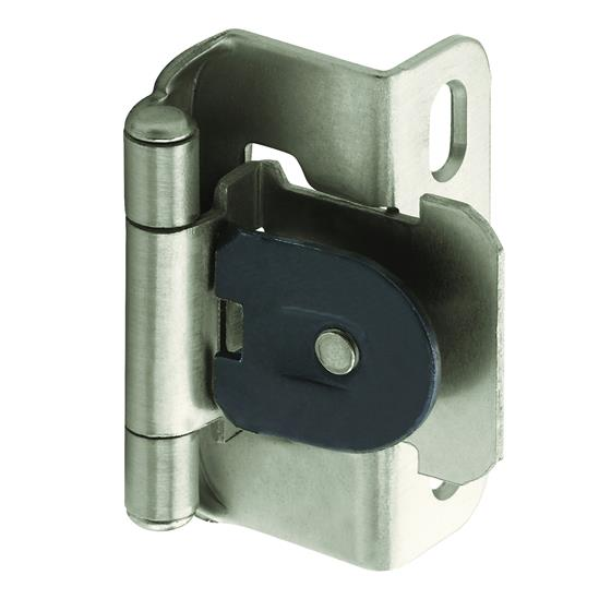 Amerock Single Demountable, Partial Wrap Hinge with 1/2 in. (13mm) Overlay - Satin Nickel