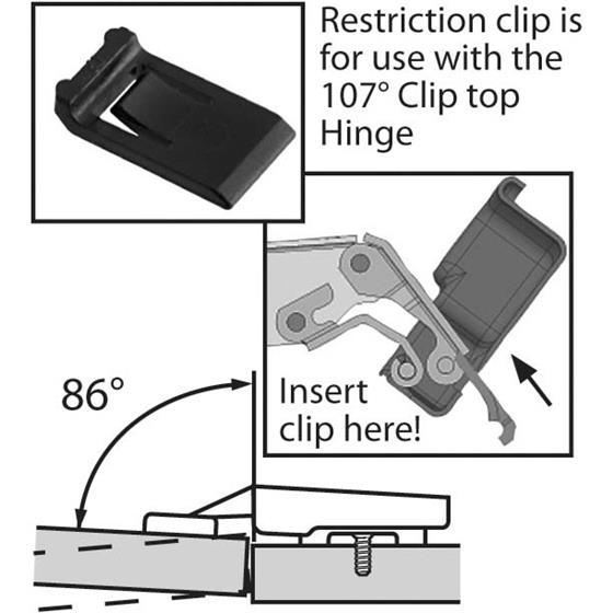 Blum 107 Degree Restriction Clip Holdahl Company Inc