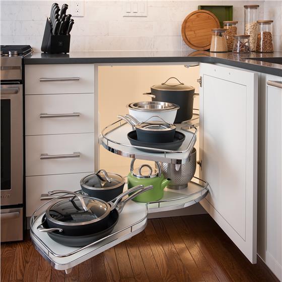 Kessebohmer Kitchen Accessories: Kessebohmer LeMans 60er, Left Swinging, Chrome/White