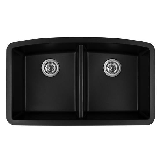 Karran Qu 710 Quartz Black Double Equal Bowl Sink